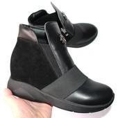 Кожаные женские ботинки, 2 цвета, черный и никель
