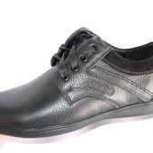 Мужские кожаные туфли черного цвета
