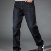 Джинсы мужские утеплённые прямые черного цвета на флисе 30-36