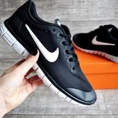 Кроссовки мужские сетка Nike Free Run 3.0 black/white