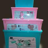 Комплект контейнеров для хранения игрушек 4 шт с принтами