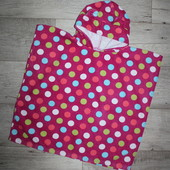 Пончо детское полотенце темно-розовое разноцветный горох