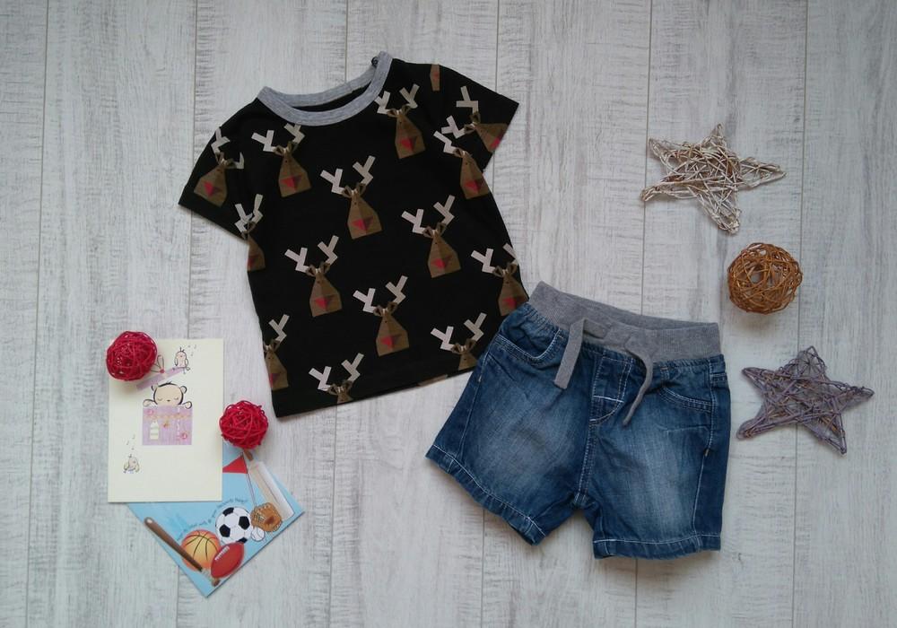 9-12 мес джинсовые шорты mothercare и футболка next фото №1