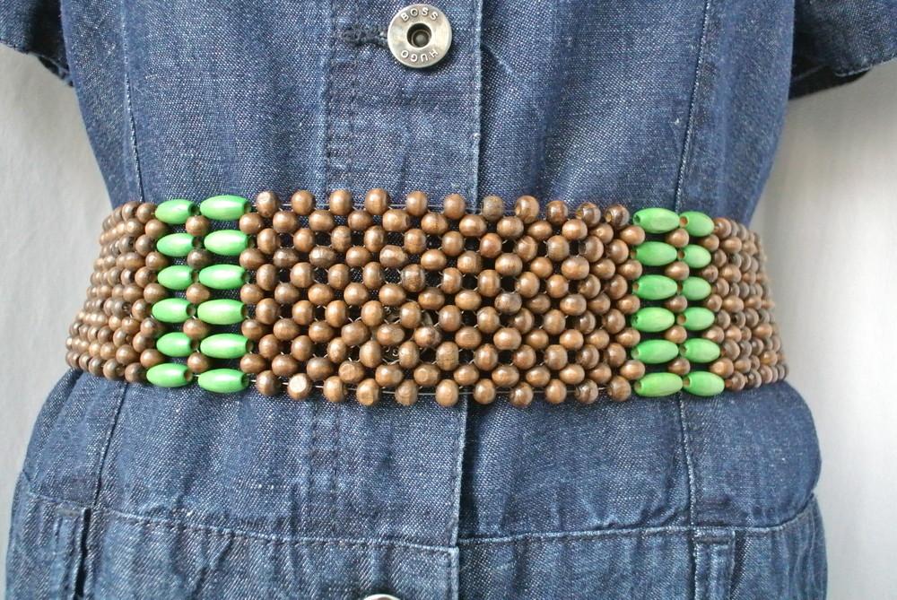 Новый пояс из деревянных бусин на завязках в этно-стиле. фото №1