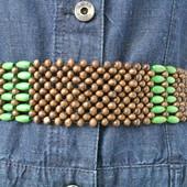 Новый пояс из деревянных бусин на завязках в этно-стиле.