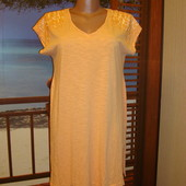 Футболка-платье персиковая с паетками р.8-12