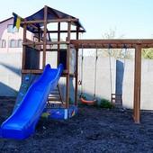 Детская площадка, игровой комплекс. Горка, качели, рукоход, песочница.