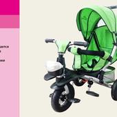 Велосипед 3-х колес TR20107 зеленый  складной козырек,надувные колеса 12'' и 10''