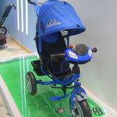 Велосипед 3-х колес TR17013 СИН (1шт) складной козырек,надувные колеса 12'' и 10''