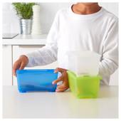 Коробка с крышкой, белый/светло-зеленый/синий, 17x10 см Глис Glis 800.985.83 Икеа Ikea