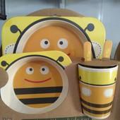 Детский наборы экологической посуды Yookidoo 5 в 1, эко посуда для детей