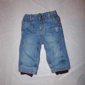 6-12 мес., р. 68-80 джинсы на хлопковой подкладке H&M фирменные джинсики