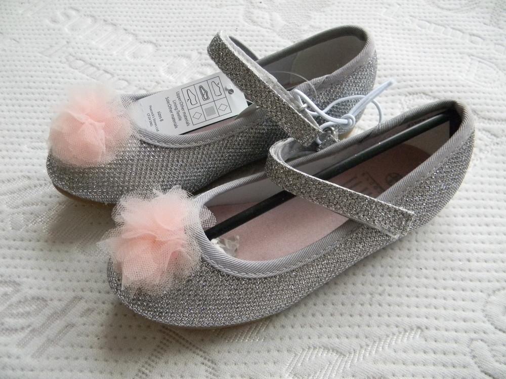Серебряные  балетки, туфли peacocks р. 8 (р. 26). фото №1