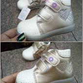 Демисезонные ботинки для девочки фирмы EEBB размер 21,22,23,24,25 серебро и золото