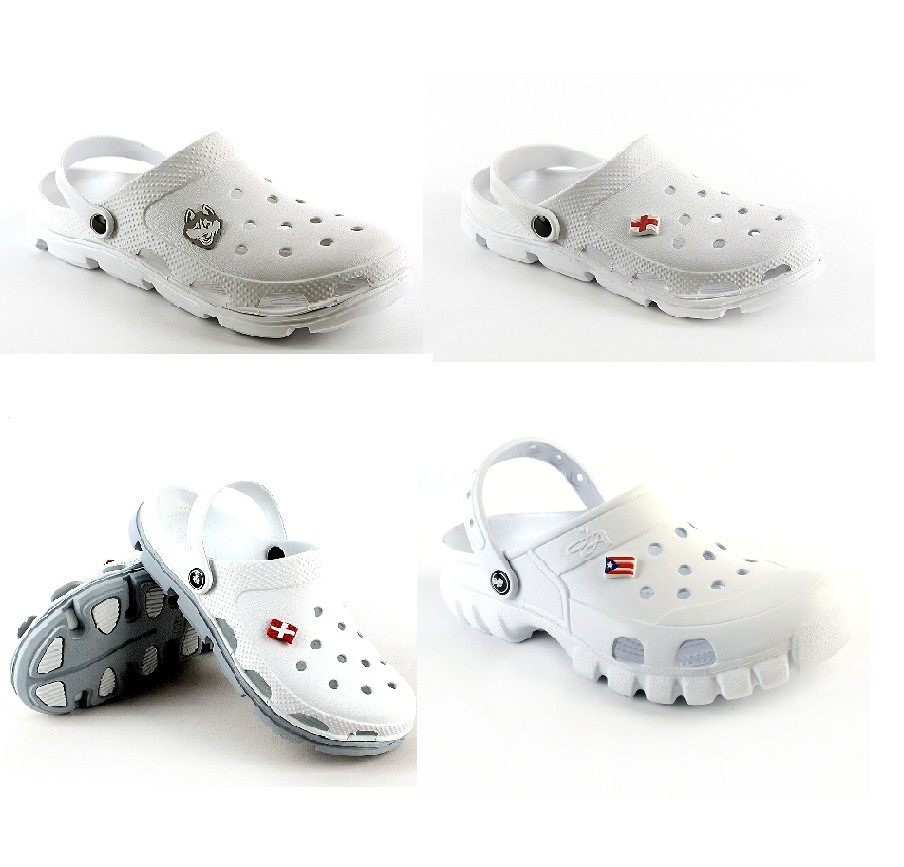 Кроксы белые медицинская обувь или для работников кухни фото №1