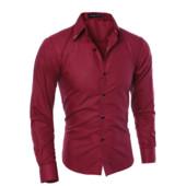 Мужская рубашка классическая красная приталенная код 1