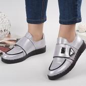 Женские туфли Натуральная кожа Серебро