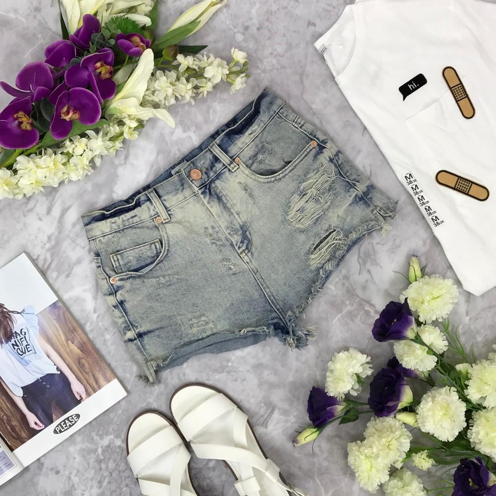 Джинсовые шорты с эффектом вываривания  sr1812181 фото №1