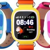 Smart baby watch Q90 Q100 , gps, wi-fi, sim-карта, кнопка sos, вибро-режим, Детские умные часы с gp