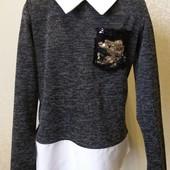 Стильная кофта свитшот рубашка Паетки в ассортименте 128-152
