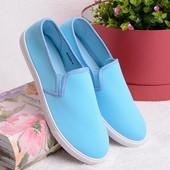 Яркие легкие женские кеды голубого цвета