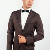 Пиджак мужской с контрастными вставками Темно-Коричневый