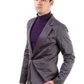 Пиджак мужской, стильный, на одной пуговице Темно-Серый