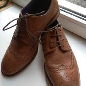 Фирменные кожаные ботинки броги оксфорды 38-39 р.