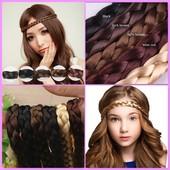Повязки-ободки косички из искусственных волос для греческой прически 8 цветов
