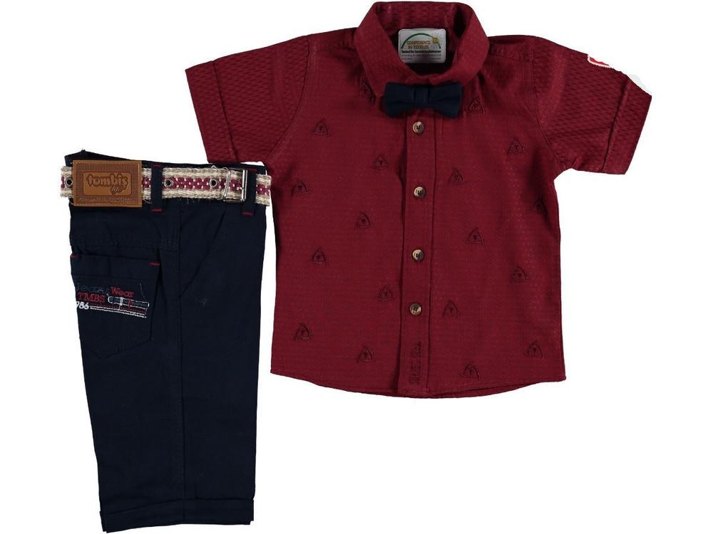 """Нарядный костюм комплект для мальчика с бабочкой """"люк"""" (бордо) 1-4 года фото №1"""