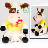 Мягкая игрушка Корова с цветком, 35 см