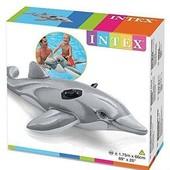 Intex Детский надувной плотик 58535 Дельфин, размер 175х66см, от 3 лет