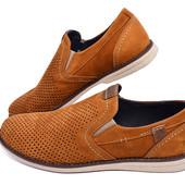 Распродажа!!! Мужские мокасины рыжего цвета с перфорацией Multi-Shoes