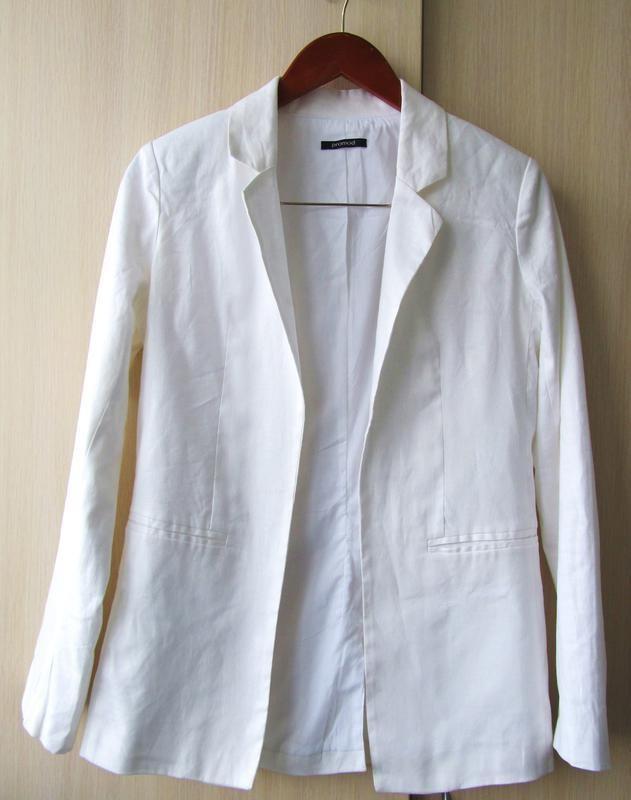 Белый пиджак в стиле бойфренд promod из натурального хuлопка и льна, s фото №1