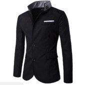 Пиджак с воротником на стойке черный М-XXL