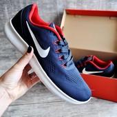 Кроссовки мужские сетка Nike Free RN blue/red