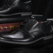 Мужские кожанные классические черные туфли, код gavk-343