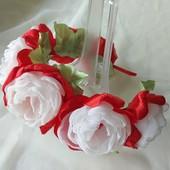 Обруч ручной работы,  ободок,  веночек,  цветы из шифона и атласных лент