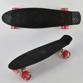 Скейт 0770 черный, свет, доска 55см, колёса PU d 6см