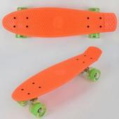 Скейт 0730 свет, оранжевый, доска 55см, колёса PU d 6см
