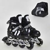 Ролики 9031 S Best Roller размер 31-34 цвет чёрный колёса PU, переставные колёса, в сумке