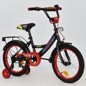Велосипед 16 дюймов 2-х колёсный С16210 corso черный, ручной тормоз,звоночек, сидение с ручкой, доп.
