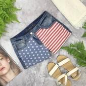 Легкие джинсовые шорты с американской тематикой   PN181982