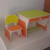 Столик и стульчик с регулировкой высоты. Цвет апельсин/лайм. Николаев. Украина.