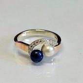 Кольцо серебряное с золотом Жемчуг микс 109к