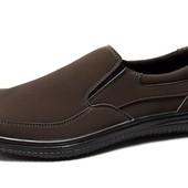 Коричневые мужские туфли с прошитой подошвой (ЛТ-17к)