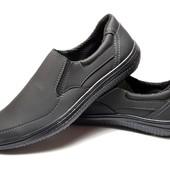 Туфли-Мокасины мужские черные - Украина (ЛТ-17ч)