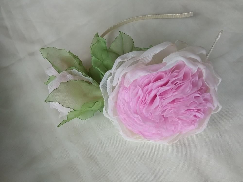 """Обруч """"английская роза"""" ,  ободок,  веночек,  цветы из шифона фото №2"""