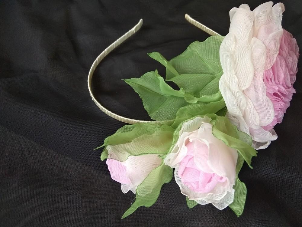 """Обруч """"английская роза"""" ,  ободок,  веночек,  цветы из шифона фото №5"""