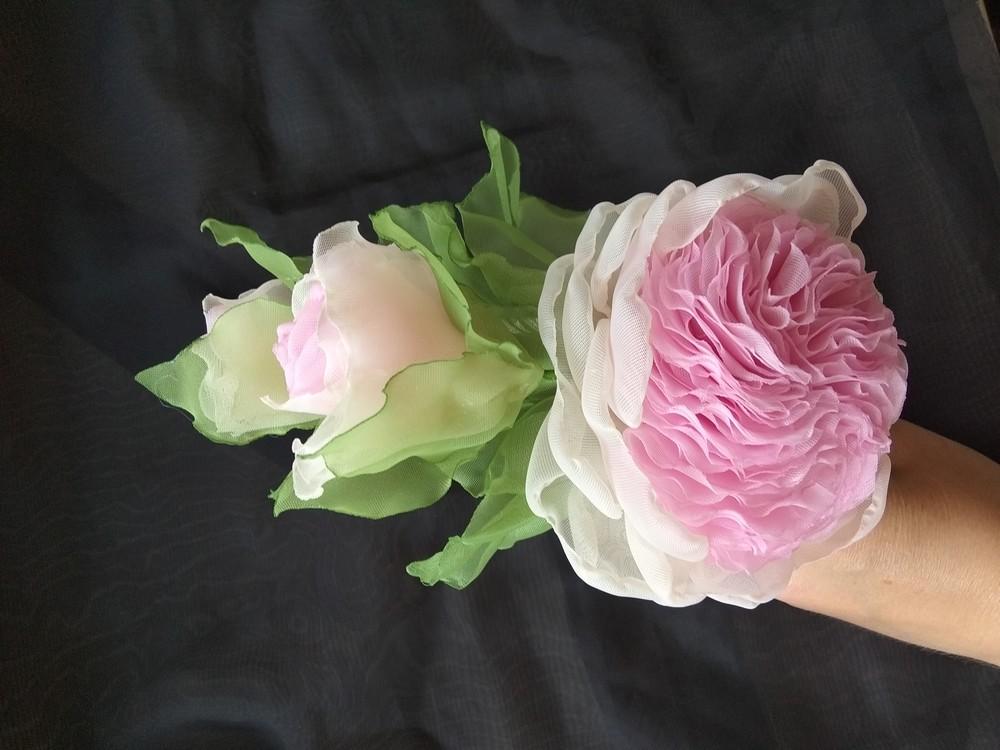 """Обруч """"английская роза"""" ,  ободок,  веночек,  цветы из шифона фото №6"""
